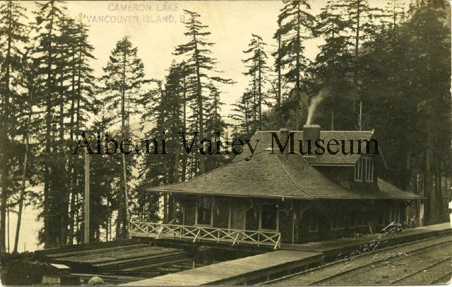 Cameron Lake Railway Station, c1913.  Alberni Valley Museum Photo PN14796.
