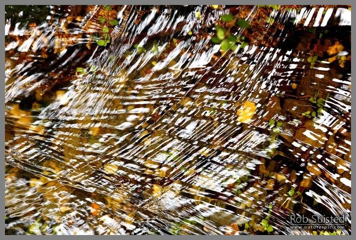 Water patterns. Ripples and curved interference patterns glistening on the surface of moving water in a small creek.