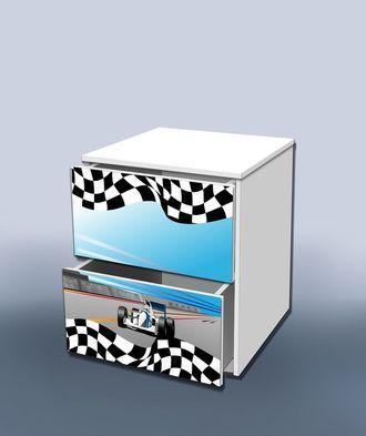 Тумба с ящиком гонка голубая