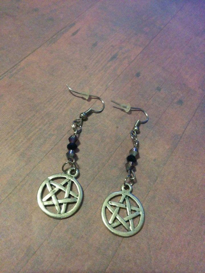 Antique Silver Pentagram Earrings - jewelry - gothic - wicca - spiritual - women's earrings - handmade - halloween - crystals - black purple by Blackrose37 on Etsy