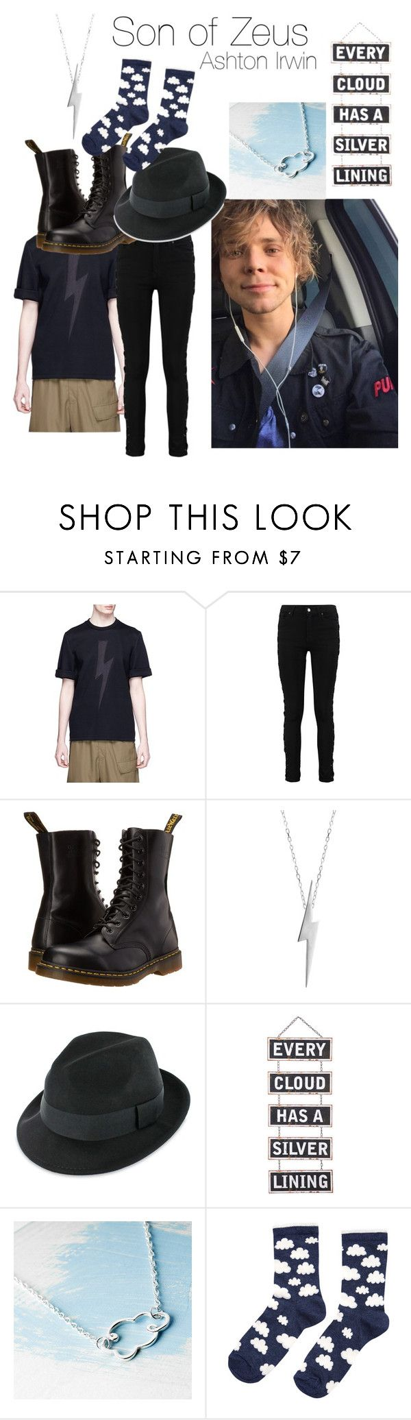 """""""Ashton Irwin - Son of Zeus"""" by themarveldemigod ❤ liked on Polyvore featuring Neil Barrett, Dr. Martens, Edge Only, Silver Lining, Kalk Bay and Accessorize"""