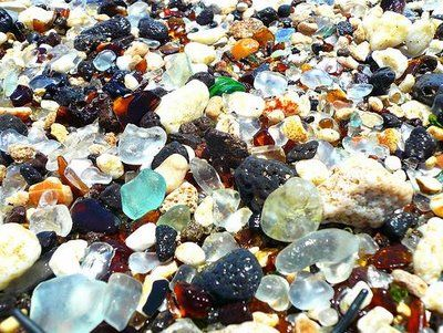 Glass Beach in Kuai. Bits of bottles, touched a million times by the sea, creating a gorgeous field of of beach glass.