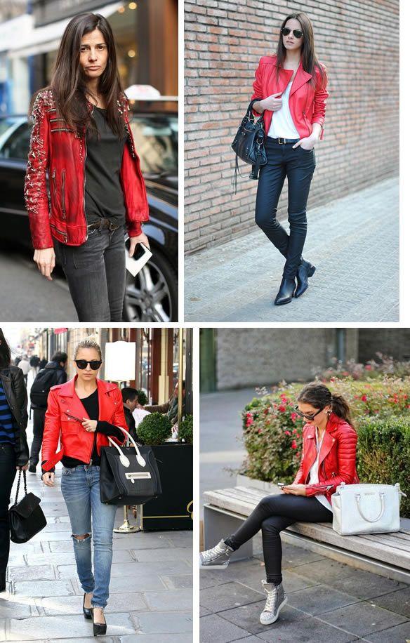 Looks con jacket roja estilo biker