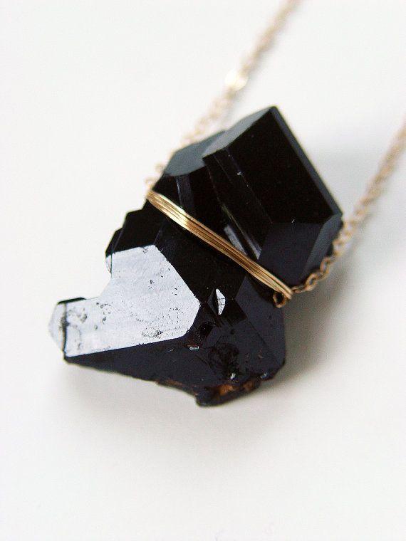 ON SALE Black Tourmaline Crystal Gold Necklace  by #friedasophie