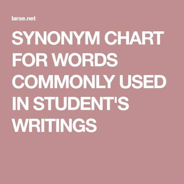 SYNONYM CHART FOR WORDS COMMONLY USED IN STUDENT'S WRITINGS
