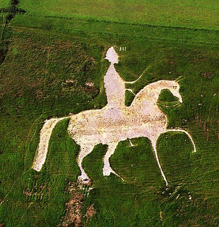 The Osmington White Horse monument in Dorset, England, was carved into the hills in the early 19th century. Photo: darkdorset.blogspot.com