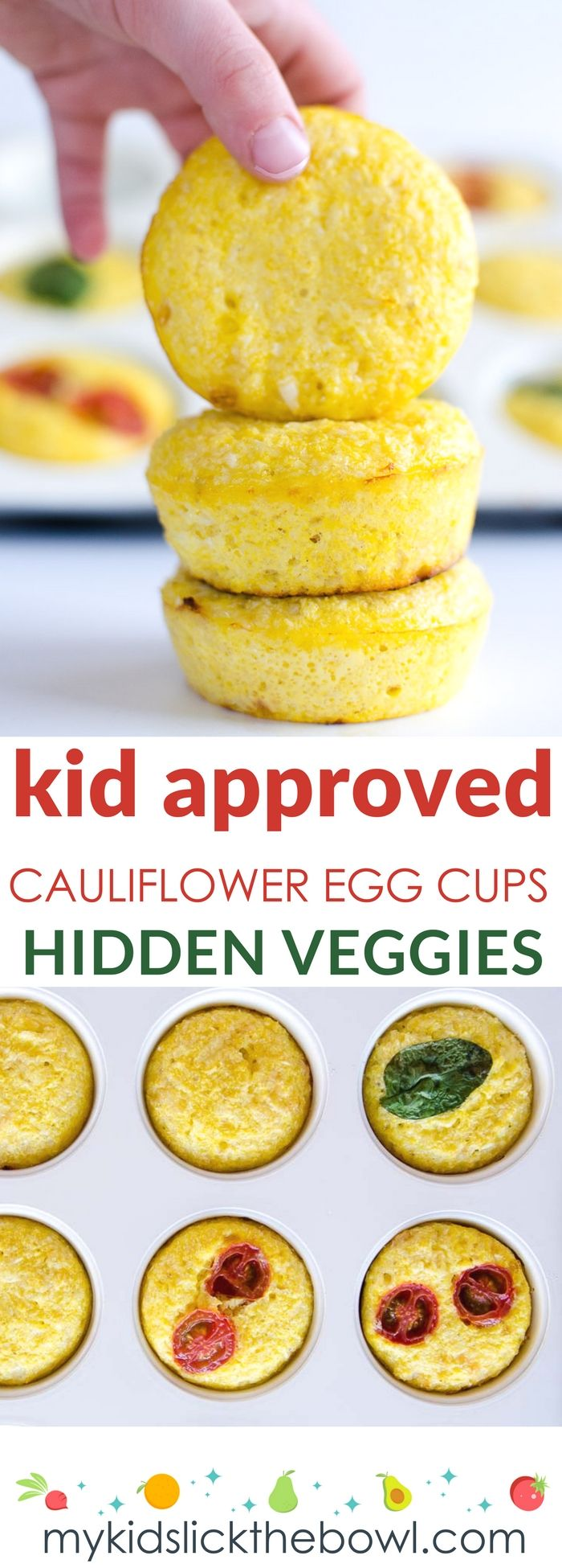 Simple Egg Muffins with Cauliflower and Cheese. Egg cups are perfect for kids and baby led weaning. A Healthy breakfast or snack, packed with veggies picky eaters will never notice