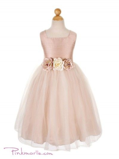 Dusty Rose Silk Bodice with Tulle Skirt Flower Girl Dress