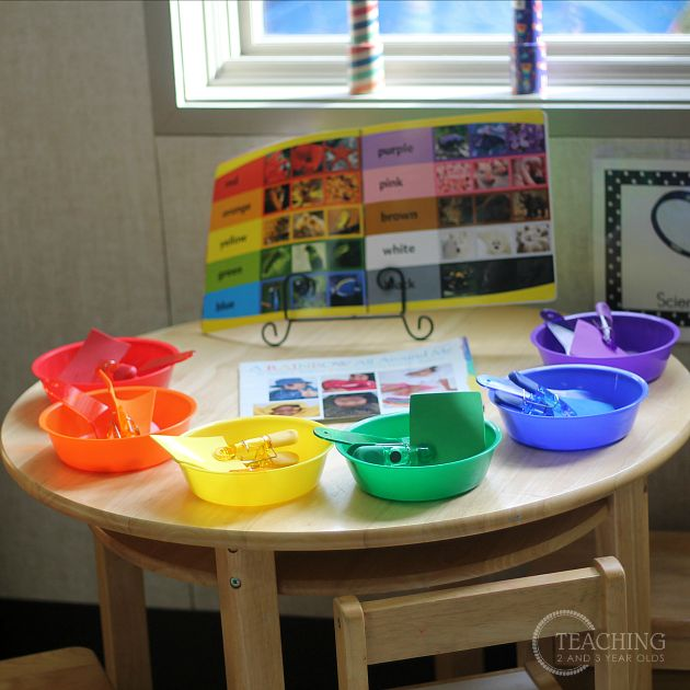 Have children find objects around the room that are the color of the rainbow-sort in colored bowls.