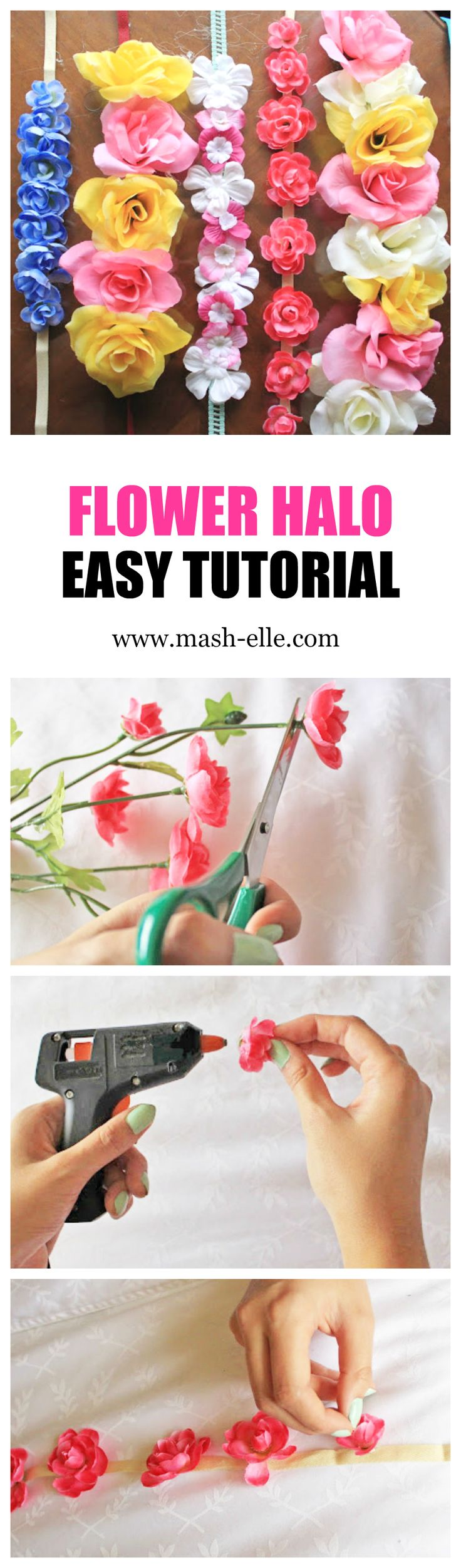 Super easy DIY flower crown tutorial! Fashion blogger Mash Elle demonstrates how to customize your very own flower halo for spring and summer music festivals such as Coachella and Bonaroo!