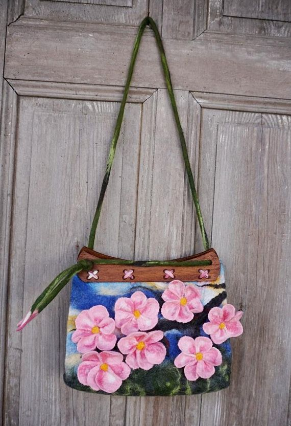 Unique felted bag medium felt handbag shoulder bag with