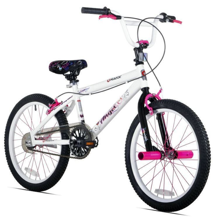 Angel Bike Girl 20 Inch White Pink Girls Kid Kids Tween Bicycle Pedal