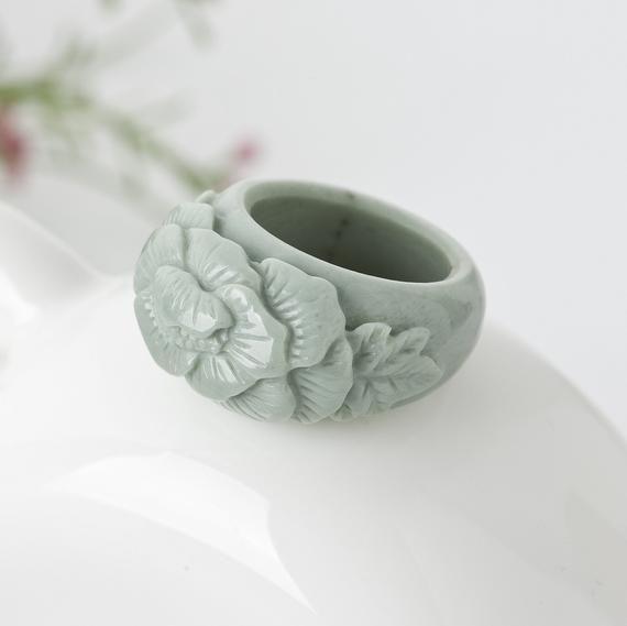 Jade Ring Size 6.5 Stacking Ring orange coral flower green jade ring korea hanbok Carved Natural Jade Stone Band Ring