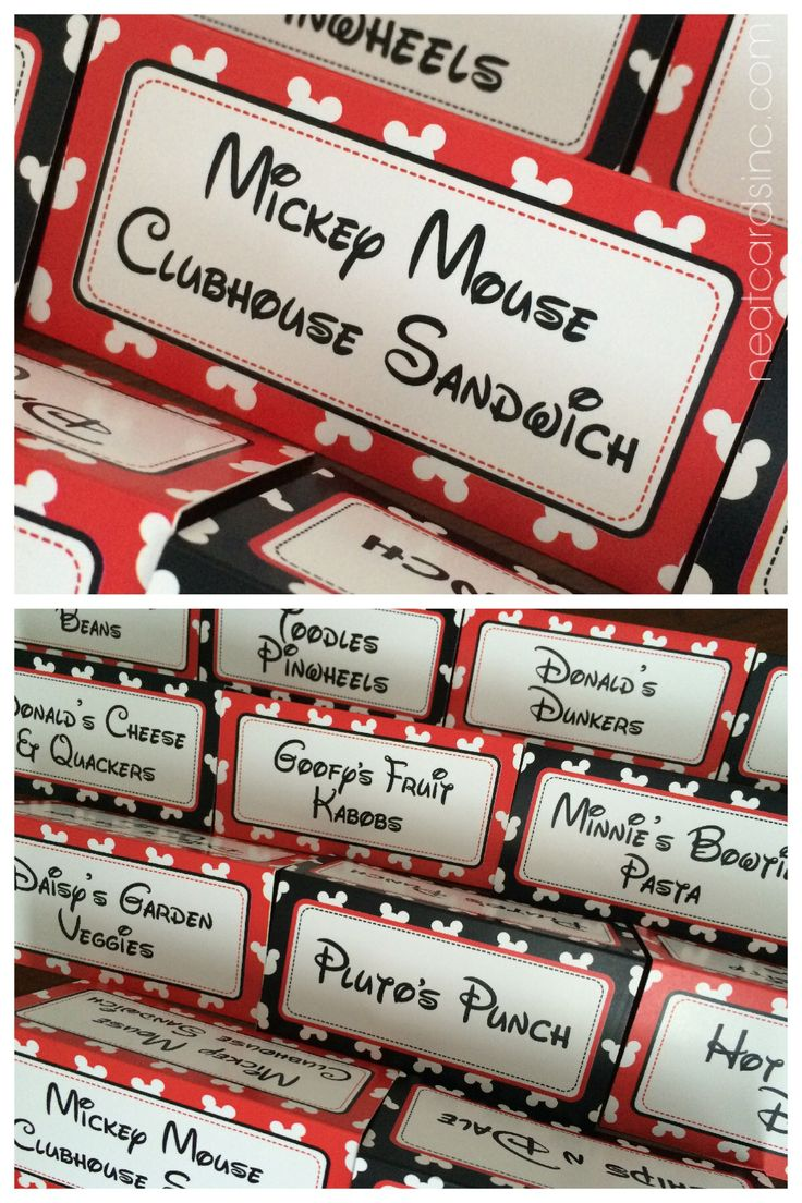 Mickey Mouse Clubhouse birthday party food labels by neatcardsinc.com