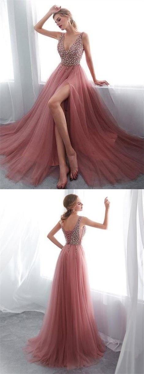 Prom Dresses Ball Gown, A-Line V-Neck Sleeveless Sweep Train Prom Dress with Rhinestone