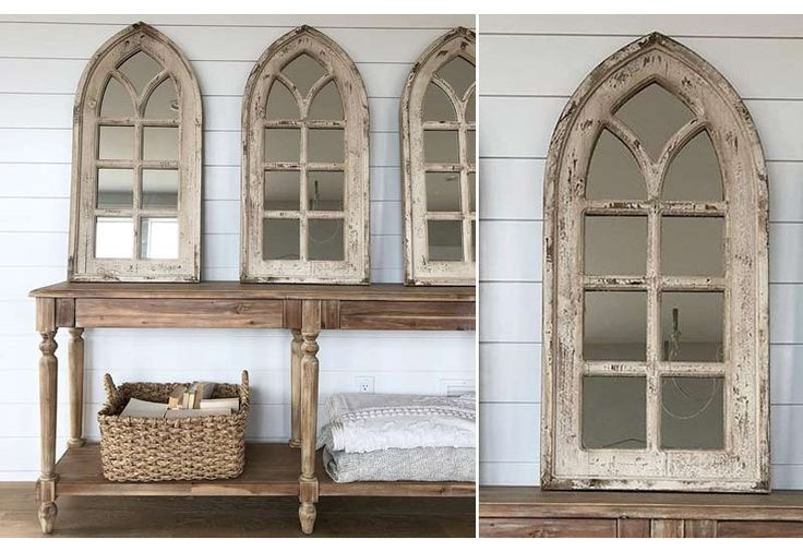 French Country, European Elegance, Cottage Chic, Vintage, Antique, Weathered, Distressed, Rustic, Chippy, Farmhouse and Barnyard Decor, Arched Mirror, Window Mirror