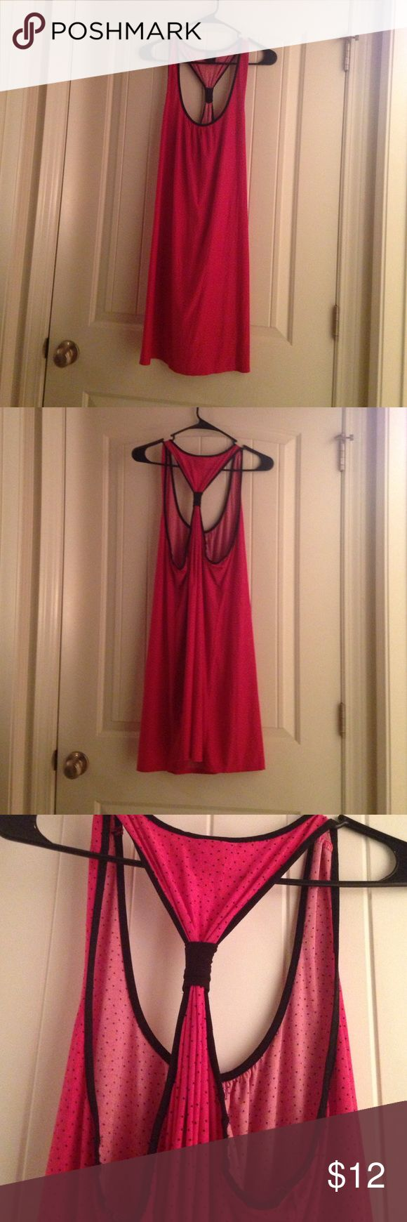 Plus size Razorback gown Apt 9 gown. Hot pink with black dots and trim. Very silky and comfortable. Size XXL Apt. 9 Intimates & Sleepwear Chemises & Slips