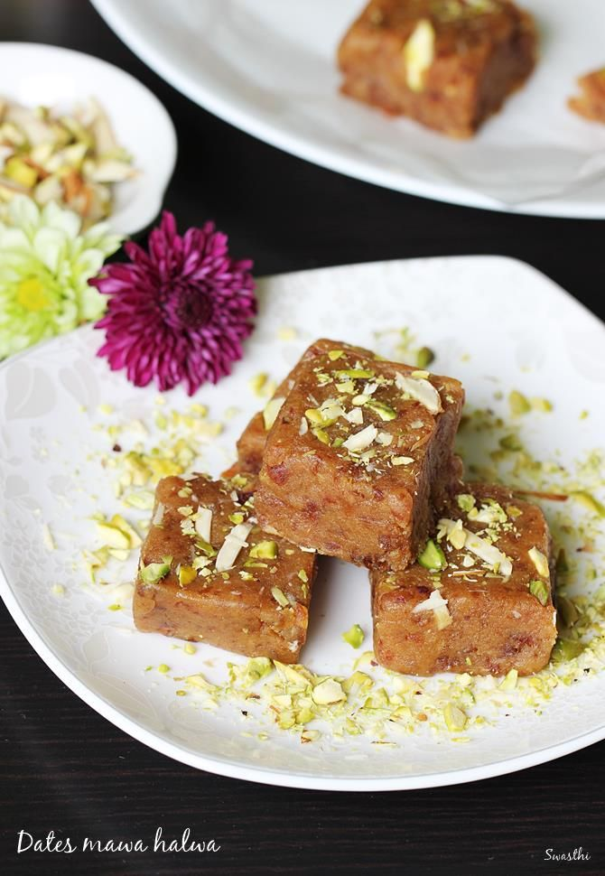 Dates halwa recipe - rich, delicious halwa made with mawa and dates. Quick and easy sweet recipe to make for celebrations & occasions