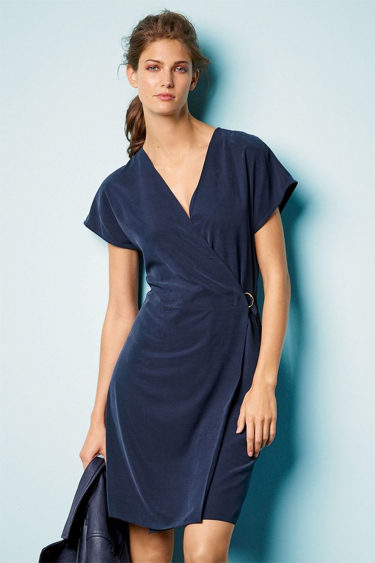 Next Navy D-Ring Wrap Dress - EziBuy New Zealand
