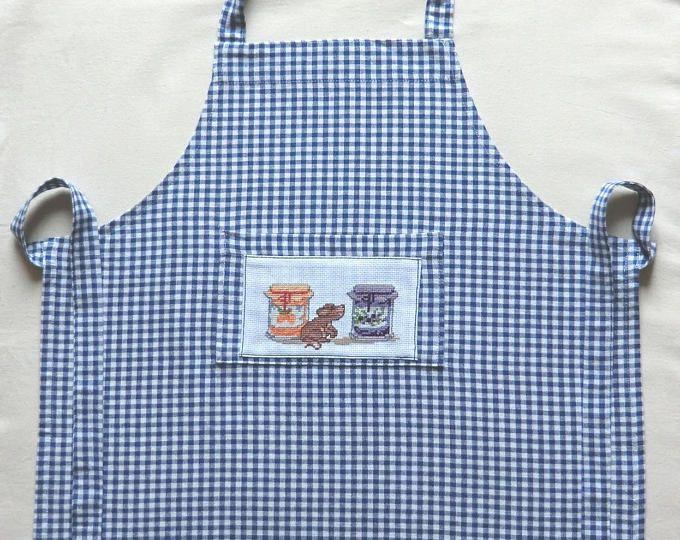 Tablier de cuisine Campagnard - En tissu coton - Brodé à la main - Petite souris gourmande - Pour enfant Fille ou Garçon - Taille 3 à 5 ans