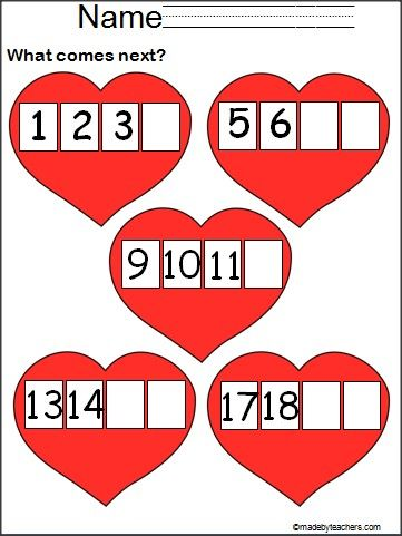This is a set of 3 Valentine's Day number practice pages available FREE on Madebyteachers.com. Students finish writing the missing numbers 1-20. There are 2 blank master pages included, so you can customize the worksheets by writing in the blanks.