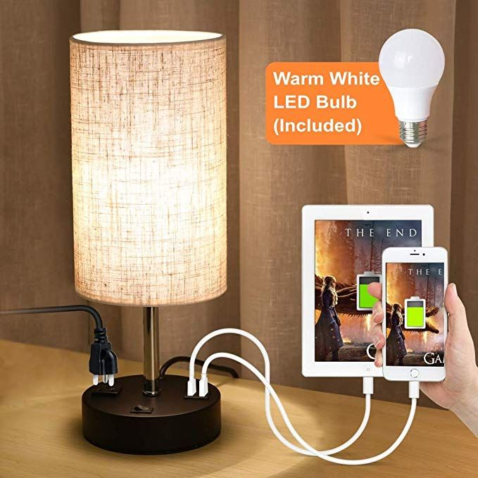 Lifeholder Usb Lamp Table Lamp With Warm White Led Bulb Bedside Nightstand Lamp Built In Dual Usb Port A Power Ou In 2020 Bedside Night Stands Nightstand Lamp Lamp