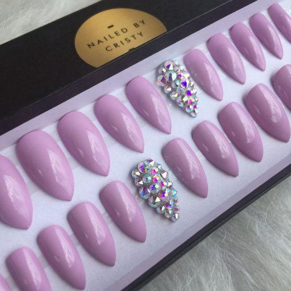 Purple Pastel Plain Press On Nails Any Shape by NailedByCristy                                                                                                                                                      More