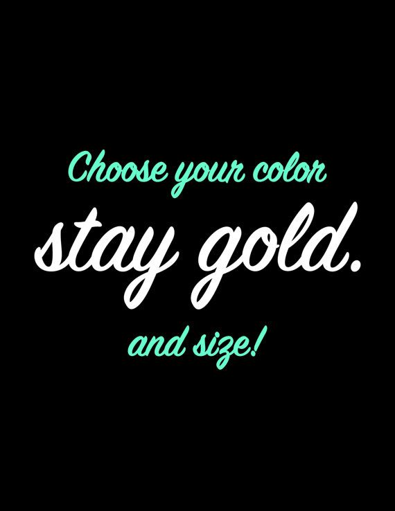 Stay Gold Decal Stay Gold Vinyl Decal Laptop Decal by Roscoes123