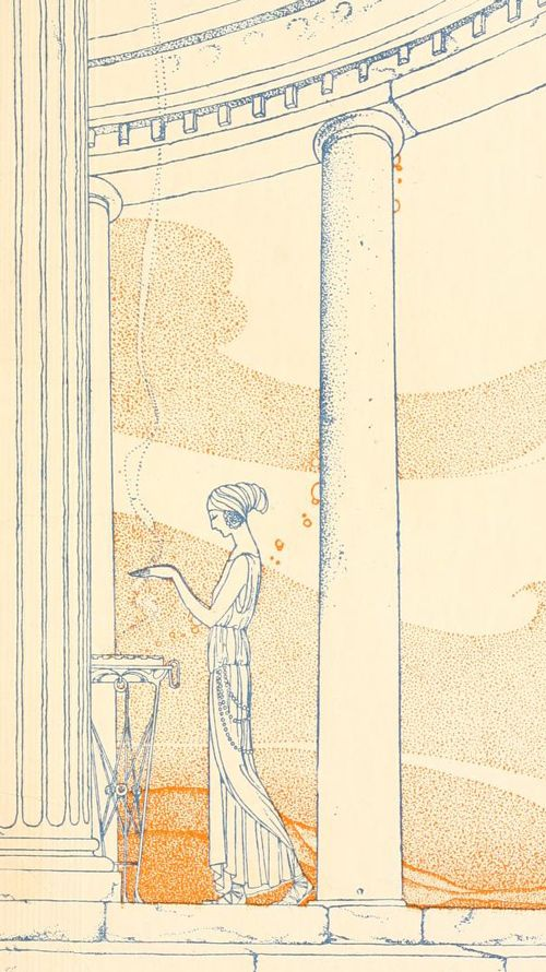 Missouri-born illustrator Virginia Frances Sterrett (1900–1931) managed to complete just three books in her short life, all of them commissioned by the Penn Publishing Company: Old French Fairy Tales (1920), Tanglewood Tales (1921), and Arabian Nights (1928). Detail from Endpapers, Tanglewood Tales