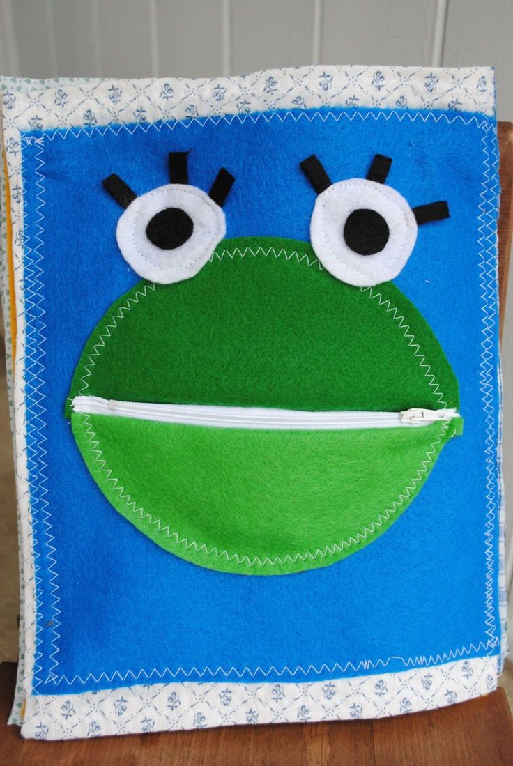 BUSY BOOK frog zipper mouth.  maybemake a tongue inside and flies to feed him?