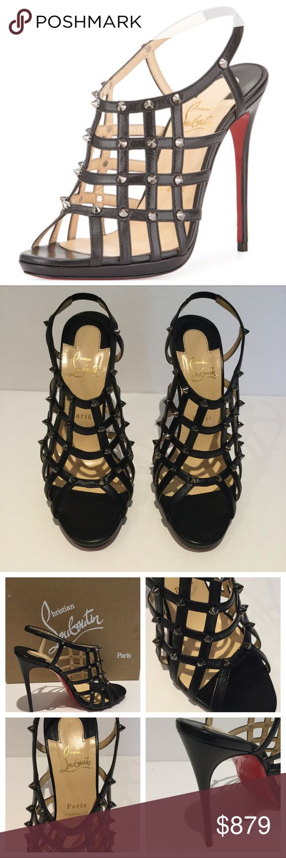 """CHRISTIAN LOUBOUTIN GUINIEVRE LEATHER SHOES. BRAND NEW W/ TAGS  Christian Louboutin leather sandal with gunmetal spike studs throughout latticework design. 4.7"""" covered heel; 0.5"""" double platform lowers pitch to 4.2"""". EU Size 40.  Dust bag / Box.  Open toe.  Strappy caged upper. Halter ankle-wrap strap with stretch inset. Slip-on style. Signature red leather outsole. Made in Italy.  SMOKE / PET FREE ENVIRONMENT Christian Louboutin Shoes"""