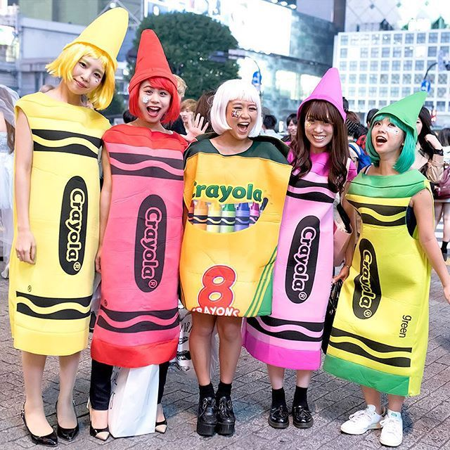 Instagram media by tokyofashion - Colorful and fun Crayola crayons celebrating Halloween on the street in Shibuya, Tokyo.