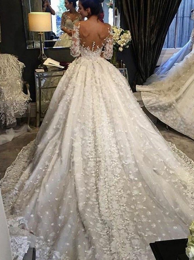 Ball Gown Illusion Bateau Chapel Train Wedding Dress with Appliques ...