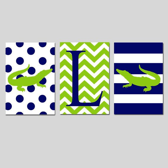 Alligator Nursery Monogram Trio - Set of Three 11x17 Prints - Polka Dot Alligator, Chevron Initial, Striped Alligator - Choose Your Colors on Etsy, $65.00