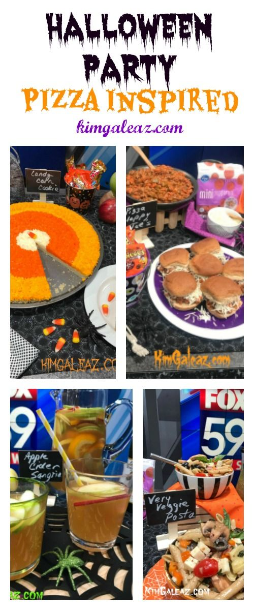 Quick, easy, family-friendly meal with pizza-inspired foods for Halloween night party. Or quick dinner before trick-or-treating.