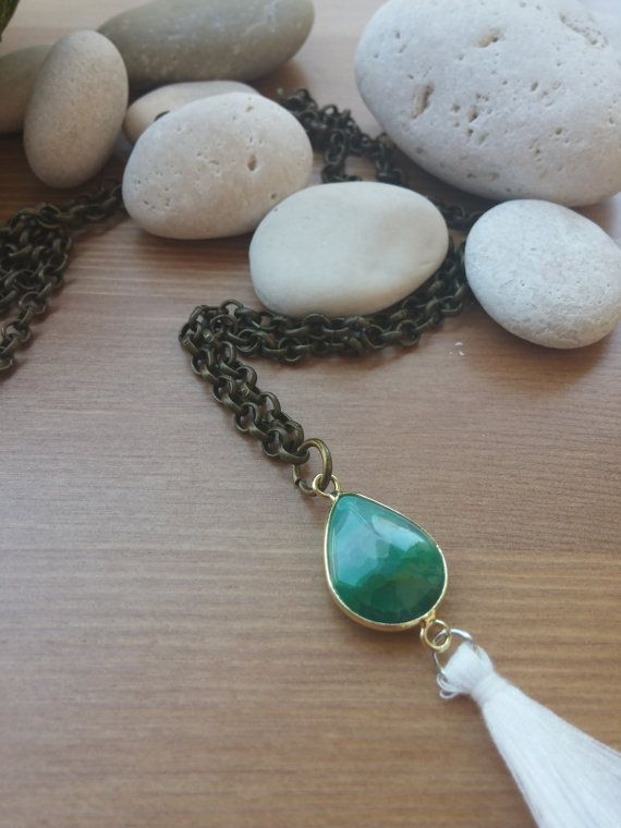 handmade chain necklace with green stone and pompon by toocharmy