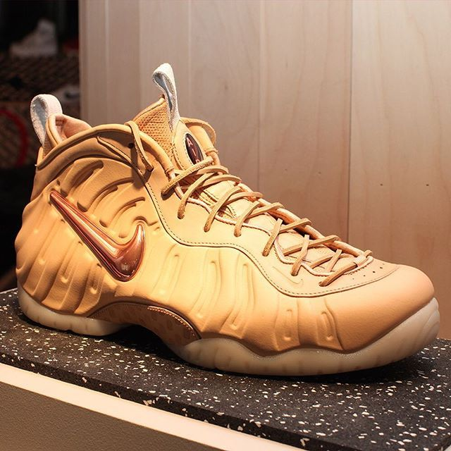 """The Nike Air Foamposite Pro """"Vachetta Tan"""" releases this Saturday at Nike Sportswear retailers worldwide. For a full rundown of release dates, tap the link in our bio. #kicksoftheday #nicekicks #sneakerporn #F4F"""