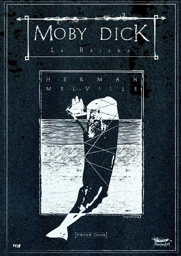 Copertina e-book Moby Dick di Herman Melville, versione in negativo; concept, graphic design ed illustrazione di Davide Corsetti per Stregattodesign Milano