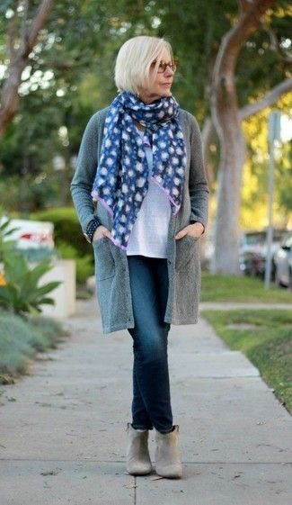Women's Grey Open Cardigan, White Crew-neck T-shirt, Navy Jeans, Grey Suede Ankle Boots
