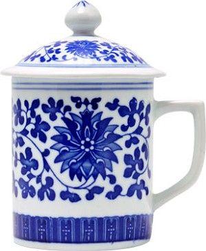porcelain tea cups with lid | Porcelain Tea Cup with Lid - Floral Blue White