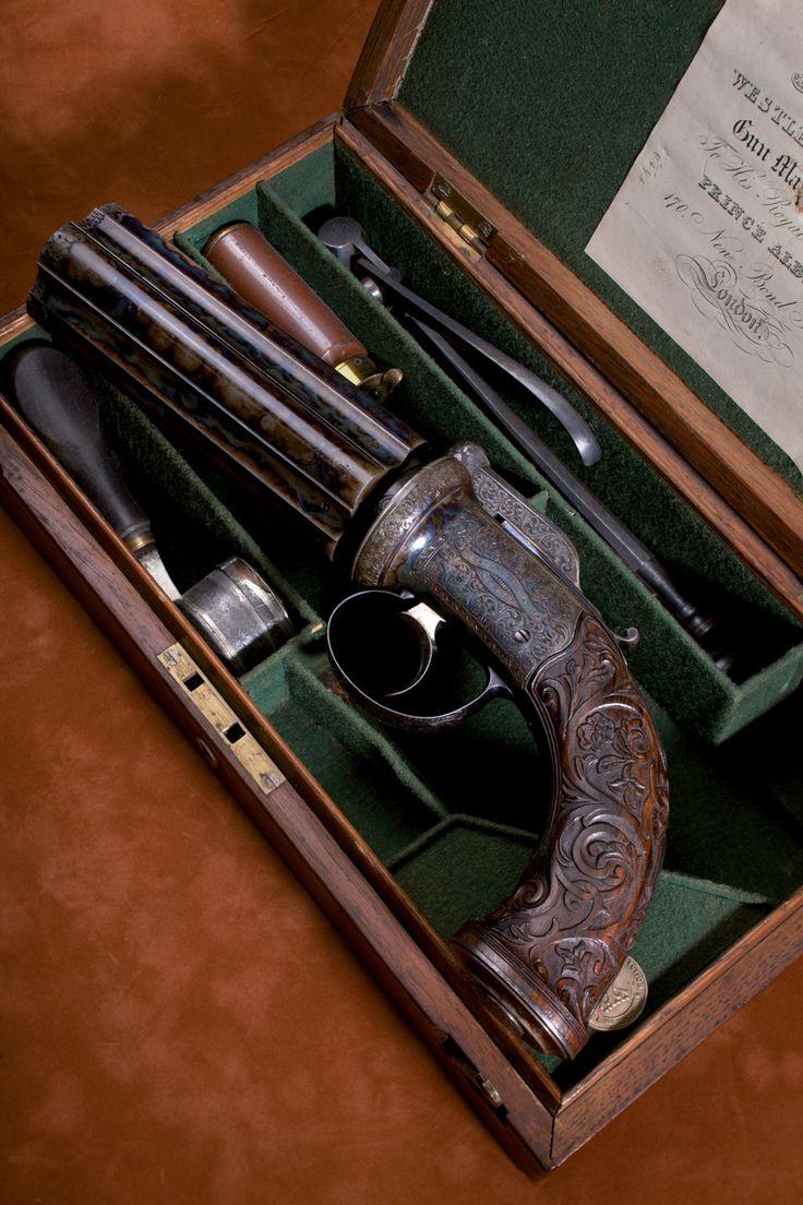 Double pistol handgun revolver gun display case cabinet rack shadowbox - An Exhibition Westley Richards 5 Shot 55 Bore Percussion Pepperbox Pistol