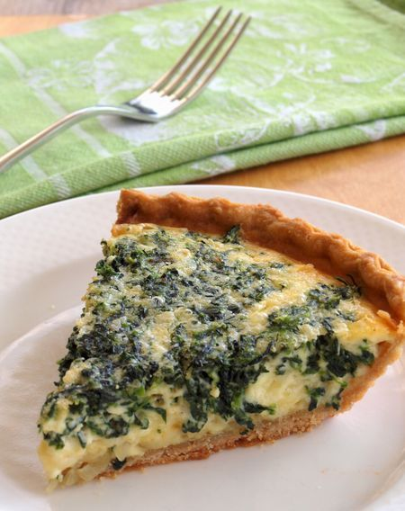 Spinach Gruyere Quiche... Delicious recipe! I used fresh spinach to use up some that was at the end of its life (be sure to drain it well!) and also substituted swiss cheese to save $. Very quick and easy recipe, we both loved it. Packs well for lunch, too.