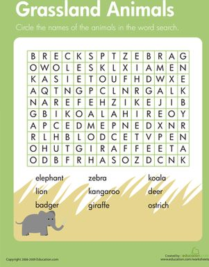 Kids find grassland animals in this third grade science word search. Animal habitat worksheets help students learn about life forms in different environments.
