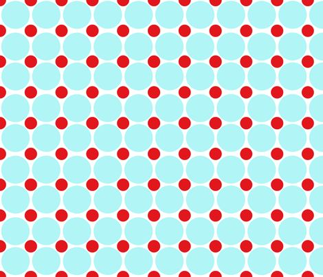 Red and Turquoise Dots On White fabric by curlywillowcollections on Spoonflower - custom fabric