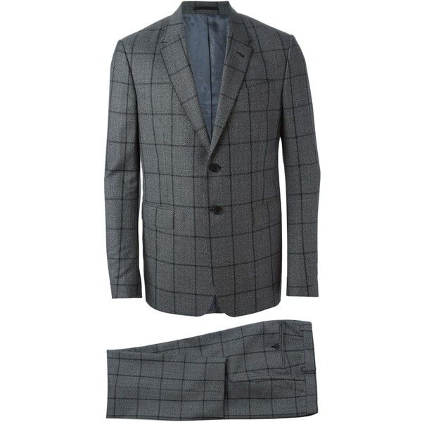 Paul Smith checked suit (1,002,475 KRW) ❤ liked on Polyvore featuring men's fashion, men's clothing, men's suits, grey, checked mens suits, mens grey suits, mens gray suit, paul smith mens clothing and paul smith mens suits
