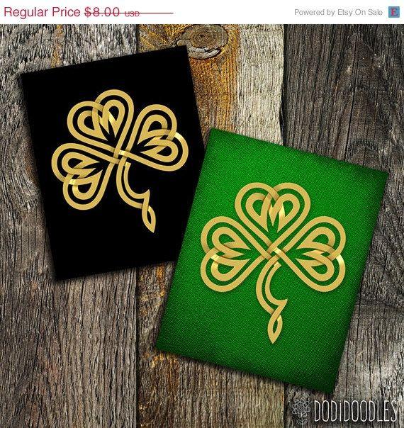 65% OFF SALE Gold Celtic Shamrock Set of 2 Irish by dodidoodles