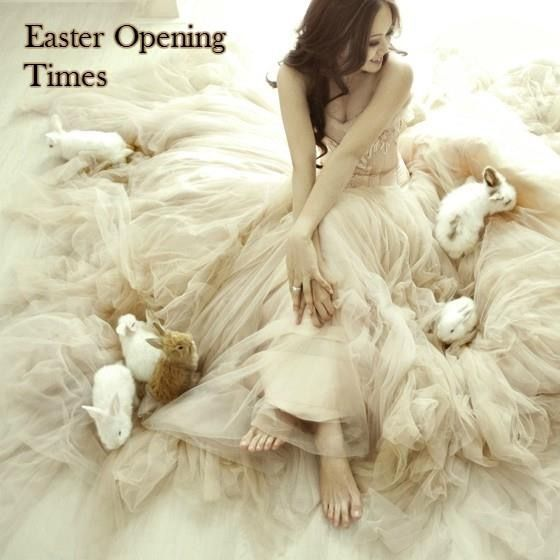 Easter Opening Times  Good Friday - CLOSED Easter Saturday - OPEN- ONE APPOINTMENT LEFT @ 1.30PM Easter Sunday - CLOSED Easter Monday - CLOSED  PLEASE NOTE:- During the school holiday's we will be open STRICTLY by appointment. If you would like to book an appointment please visit our website & fill in our booking form http://www.thebridalroombroadway.co.uk/contact-atherstone/