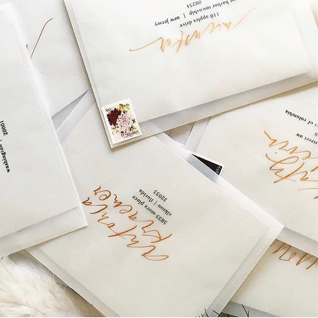 Totally in love with this envelope moment from @charliewhiskeydesign in #dailydoseofpaper Vellum envelopes gold brush lettering = SO GOOD.