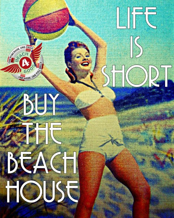 Beach Photograph LIFE IS SHORT buy the beach house retro 1940s nostalgia vintage Florida summer girl beach decor print