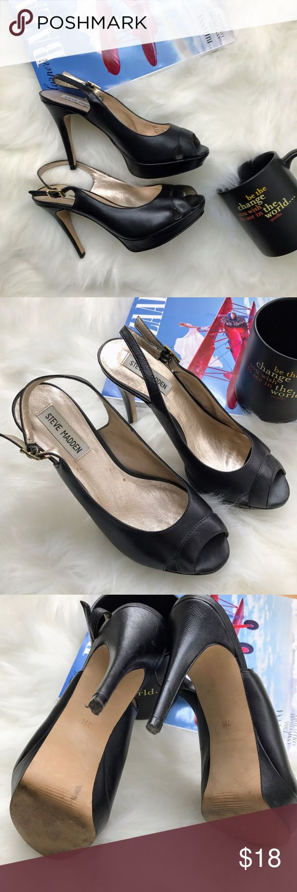 """Steve Madden Black Peep Toe Sling Back Heels Steve Madden. Style: Dreemm. Black leather upper. Peep toe with cut out design. Sling-back with gold buckles. 1"""" lift at toe with 4"""" heel. Size 7M. Shoes are worn in with damage to heel as pictured but still has a lot of life. Will take best offer! No box. Steve Madden Shoes Heels"""